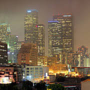 Panorama Of Downtown Los Angeles In The Fog Art Print