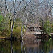 Panorama Of Lake, Trees And Cabin Art Print