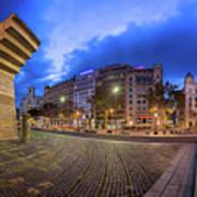 Panorama Of Placa De Catalunya In The Morning, Barcelona, Spain Art Print