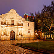 Panorama Of The Alamo In San Antonio At Dawn - San Antonio Texas Art Print