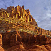 Panorama The Castle On A Cloudy Morning Capitol Reef National Park Art Print