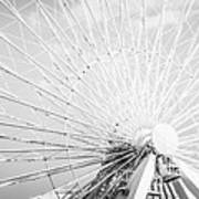 Panoramic Chicago Ferris Wheel In Black And White Art Print
