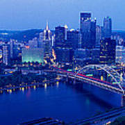 Panoramic Evening View Of Pittsburgh Art Print