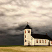 Panoramic Lightning Storm And Prairie Church Art Print