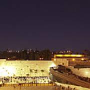 Panoramic Night View Of The Wailing Wall  Art Print
