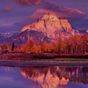 Panoramic Sunrise Oxbow Bend Grand Tetons National Park Art Print