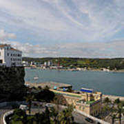 panoramic town 1  - Panorama of Mahon Menorca with old town and harbour Art Print