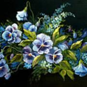 Pansies In Blue On Black Art Print