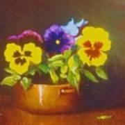 Pansies In Copper Bowl Art Print
