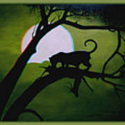 Panther Silhouette - Use Red-cyan 3d Glasses Art Print