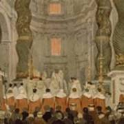 Papal Ceremony In St Peter In Rome Under The Canopy Of Bernini Art Print