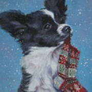 Papillon Puppy With Xmas Stocking Art Print
