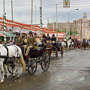 Parade Of Horse Drawn Carriages On Antonio Bienvenida Street Wit Art Print