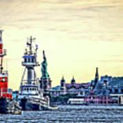 Parade Of Tugs, Hudson River, New York City Art Print
