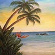 Paradise With Dolphins Art Print