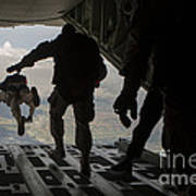 Paratroopers Jump Out Of A Kc-130j Art Print