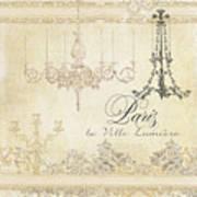 Parchment Paris - City Of Light Chandelier Candelabra Chalk Art Print