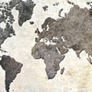 Parchment World Map Art Print