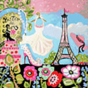Paris Bistro Dress  Art Print by Karen Fields