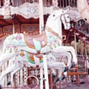 Paris Carousel Horses - Shabby Chic Paris Carousel Horse Merry Go Round Art Print