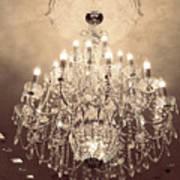 Paris Dreamy Golden Sepia Sparkling Elegant Opulent Chandelier Fine Art Art Print by Kathy Fornal