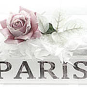 Paris Dreamy Pastel Pink Roses On Paris Book - Romantic Paris Roses And Books Shabby Chic Art Art Print