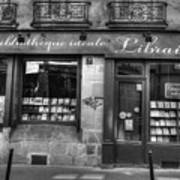 Paris France Book Store Library Black And White Art Print