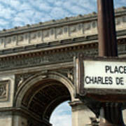 Paris France. Larc De Triomphe On Place Charles De Gaulle Art Print
