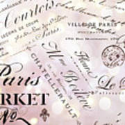 Paris French Script Wall Decor - French Script Letters Typography - Paris French Script Wall Decor Art Print