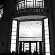 Paris Louis Vuitton Boutique - Louis Vuitton Paris Black And White Art Deco Art Print