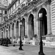 Paris Louvre Black And White Architecture - Louvre Lantern Lights Art Print