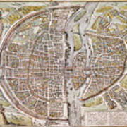 Paris Map, 1581 Art Print