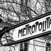 Paris Metro Sign Bw Art Print