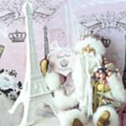 Paris Shabby Chic Holiday Santa - Paris Pink Santa Claus Joyeux Noel - Pink Santa Eiffel Tower Print Art Print