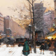 Paris, Porte Saint Denis In Winter Art Print
