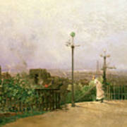 Paris Seen From The Heights Of Montmartre Art Print by Jean dAlheim