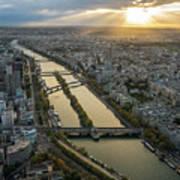 Paris Sunrays Dusk Along The Seine Art Print