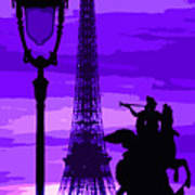 Paris Tour Eiffel Violet Art Print