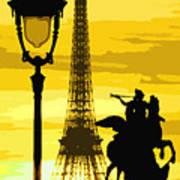 Paris Tour Eiffel Yellow Art Print