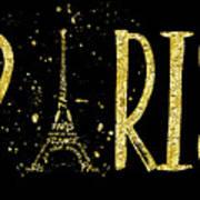 Paris Typografie - Gold Splashes Art Print