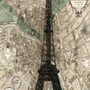 Paris Vintage Map And Eiffel Tower Art Print