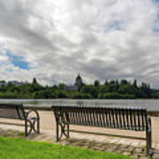Park Bench Along Capitol Lake In Olympia Washington Art Print