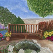 Park Bench In A Garden Art Print