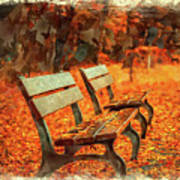Park Bench In Fall Art Print