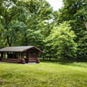Park Shelter In Lush Forest Landscape Art Print