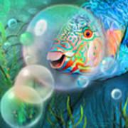 Parrot Fish - Through A Bubble Art Print