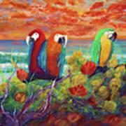 Parrots On The Beach Painterly Art Print