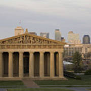 Parthenon With Nashville Skyline  Art Print