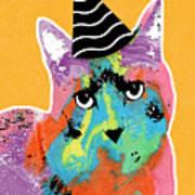 Party Cat- Art By Linda Woods Art Print