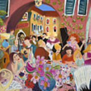 Party In The Courtyard Art Print